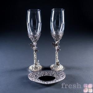 бокалы для жениха и невесты Бабочки
