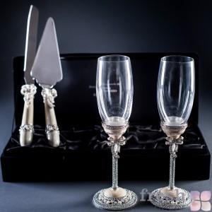 набор на свадьбу, бокал и нож с лопаточкой (2)
