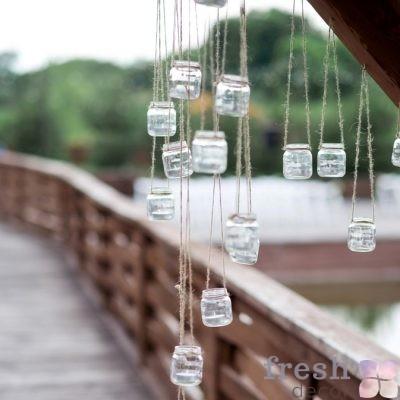 баночки со свечами на бичевку в аренду прокат Харьков для декора 1