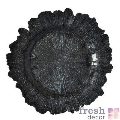 тарелка коралл подстановочная стеклянная