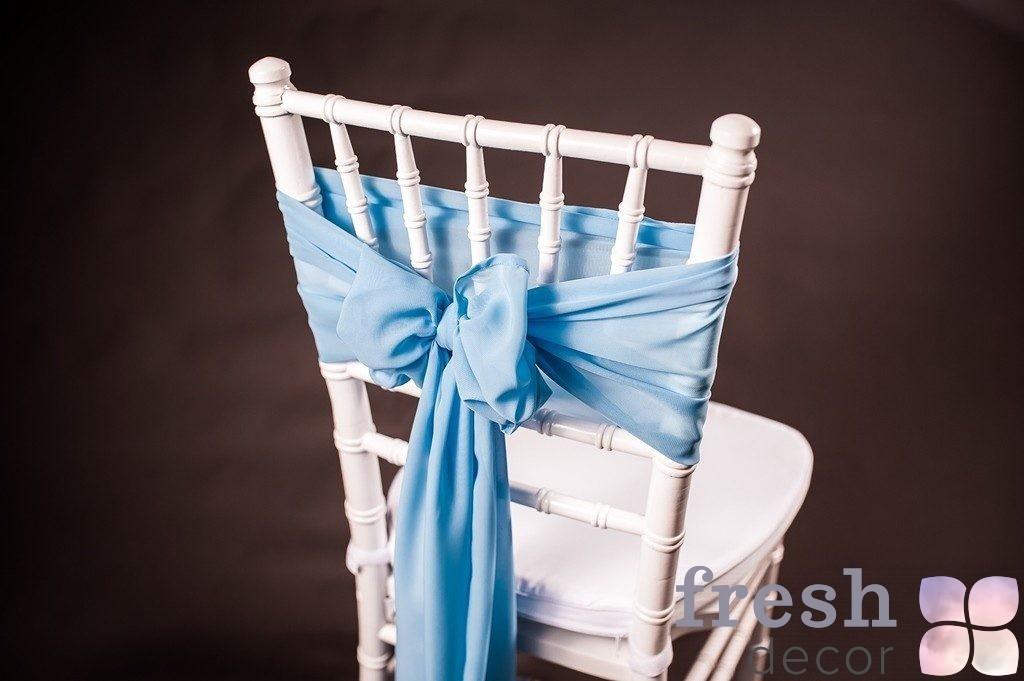 бант на стул голубого цвета