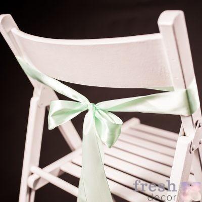 лента на стул нежно салатового цвета