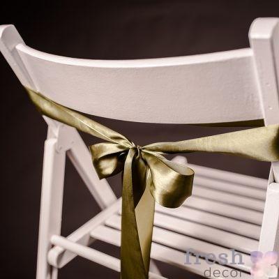 лента на стул оливкового цвета