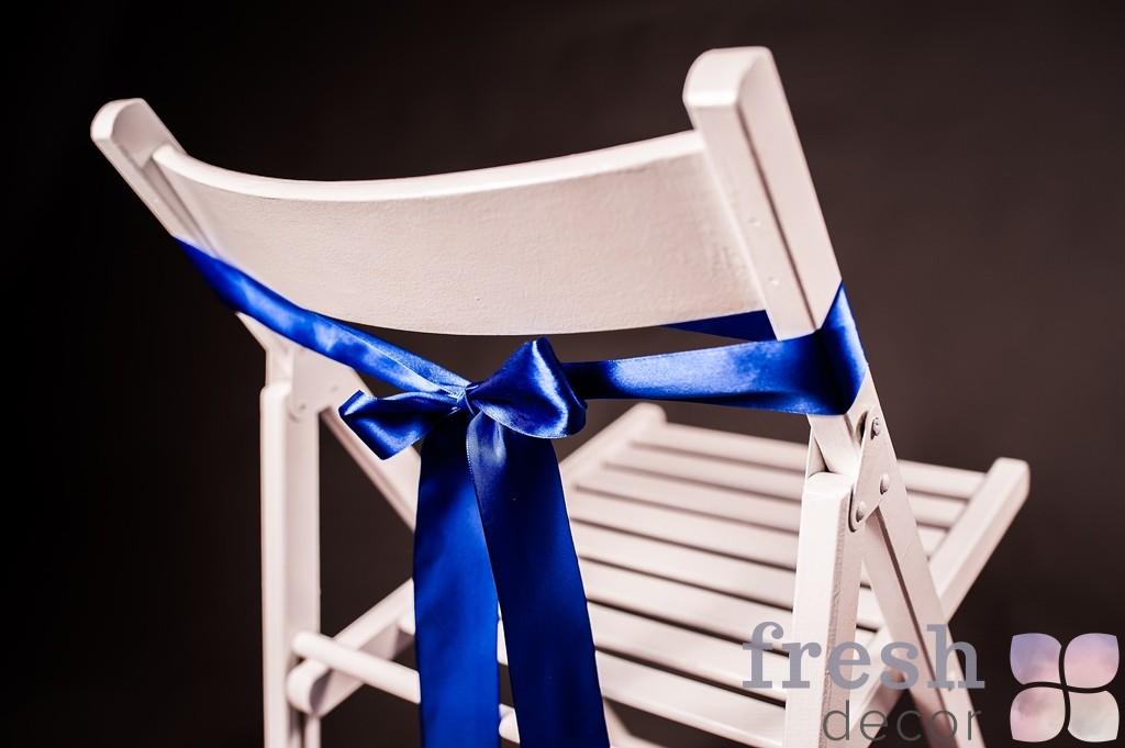 лента на стул темно синего цвета