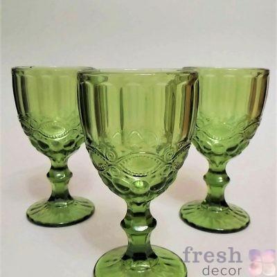 оливковые бокалы из стекла для воды