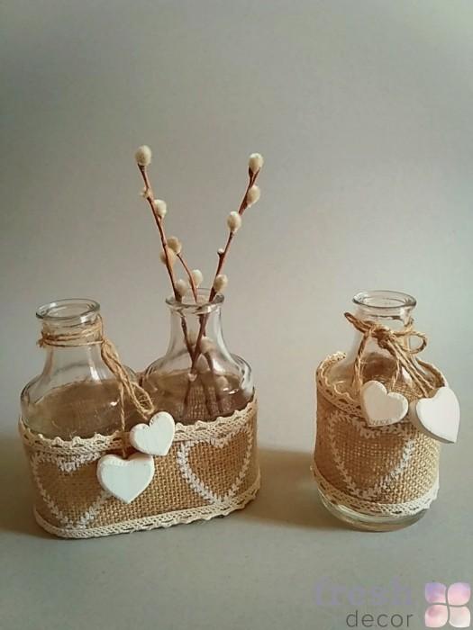 Баночки в мешковине с деревянным сердечком