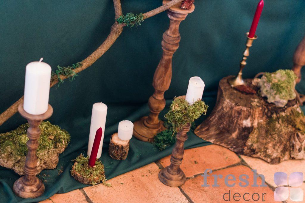 подсвечники для декора из натураьного дерева