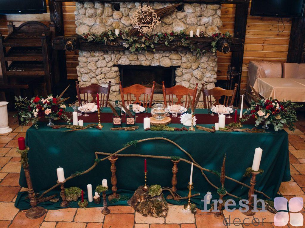 скатерть для стола в аренду зеленая 1