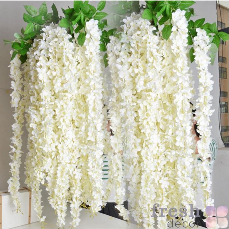 1 pcs ротанга полосы Глициния искусственные цветы лоза для свадьбы домой партии Детская комната украшения DIY 1