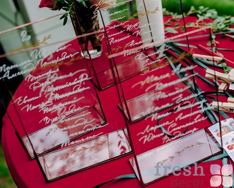 рассадочные карточки рассадка гостей прозрачные стекло аренда