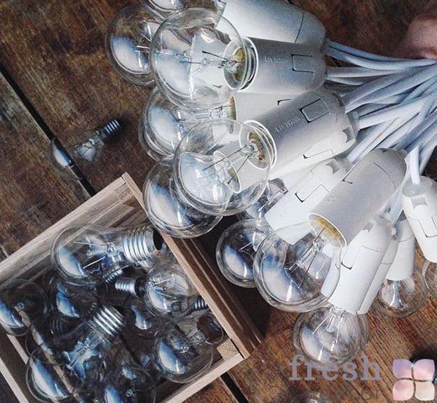 ретро гиирлянда белая с лампами накаливания в прокат
