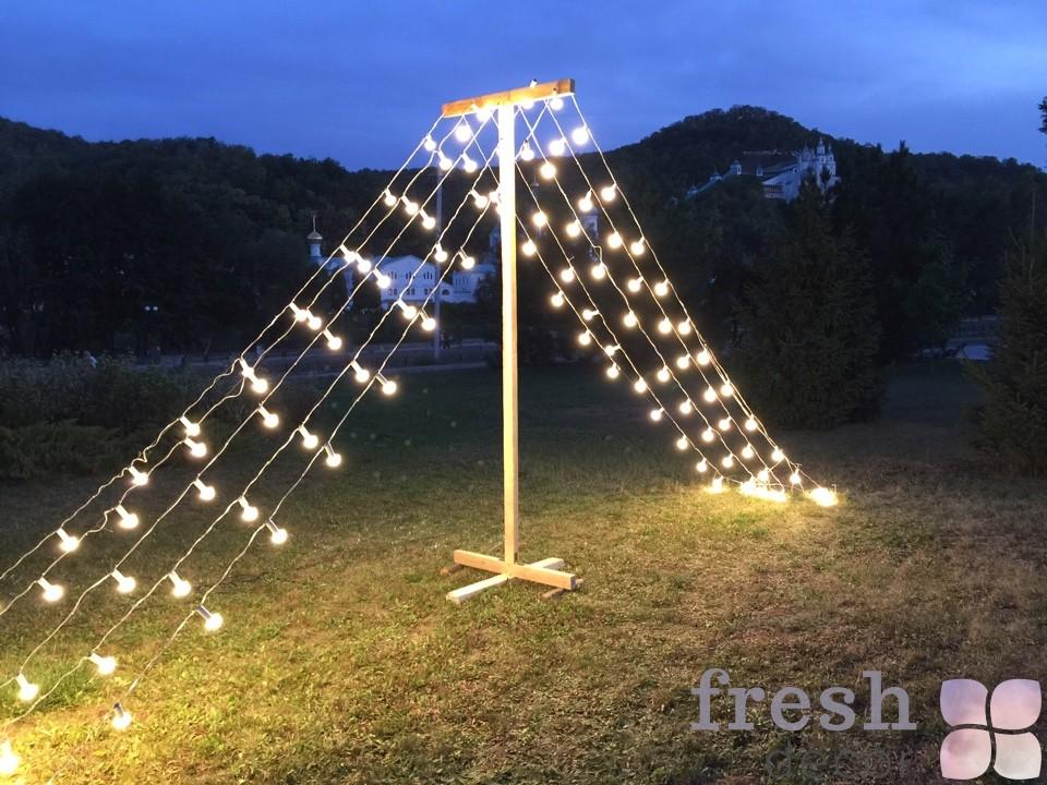 шатер из ламп фотозона в прокат