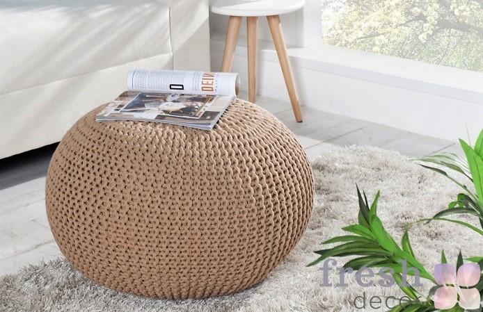 dizajnova luxusna taburetka leeds 50 cm kavova