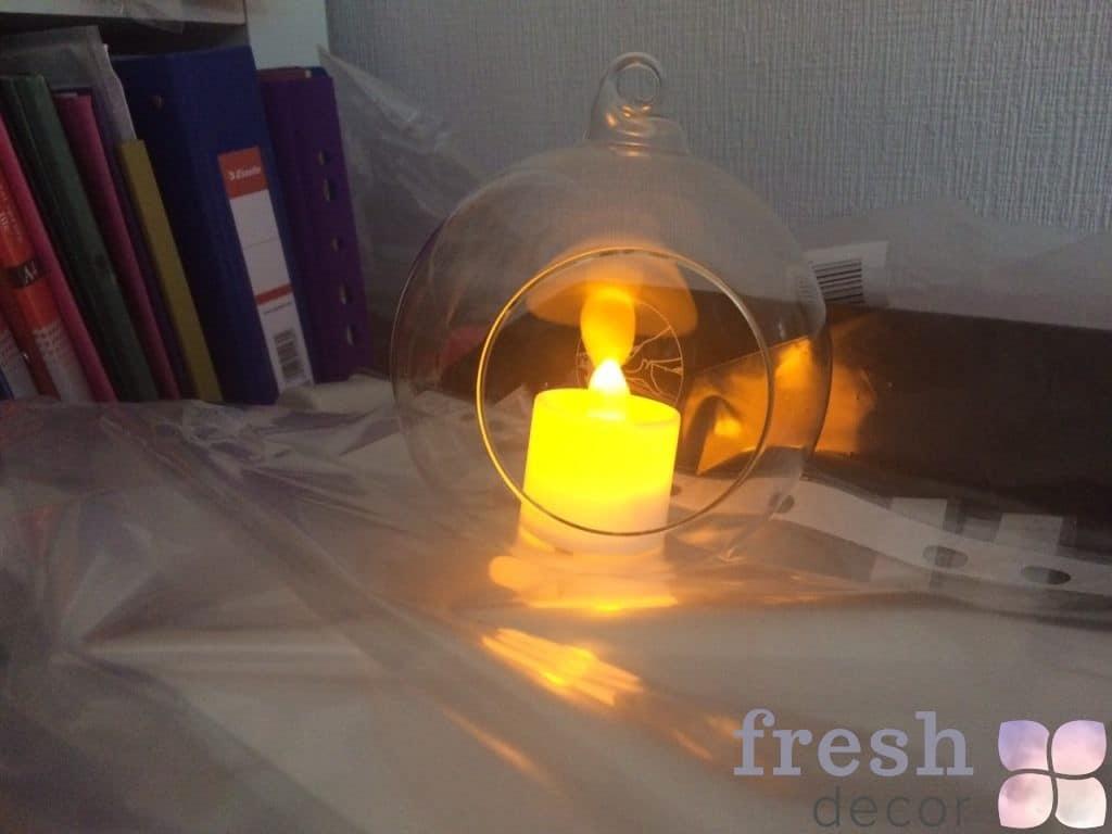 Шарик прозрачный со свечой