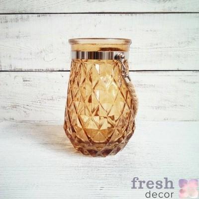 ваза подсвечник из стекла янтарного цвета