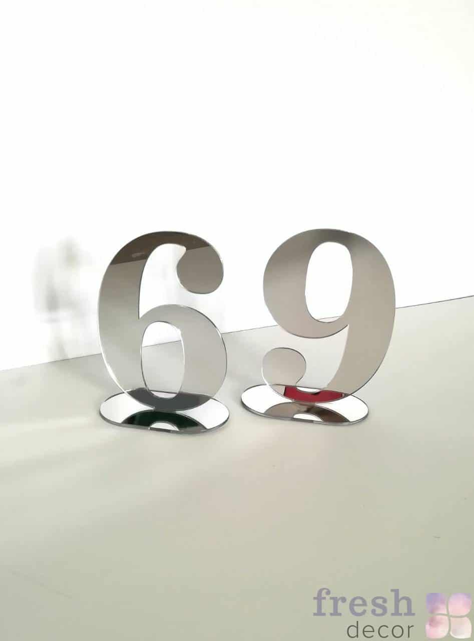 зеркальные номерки на стол