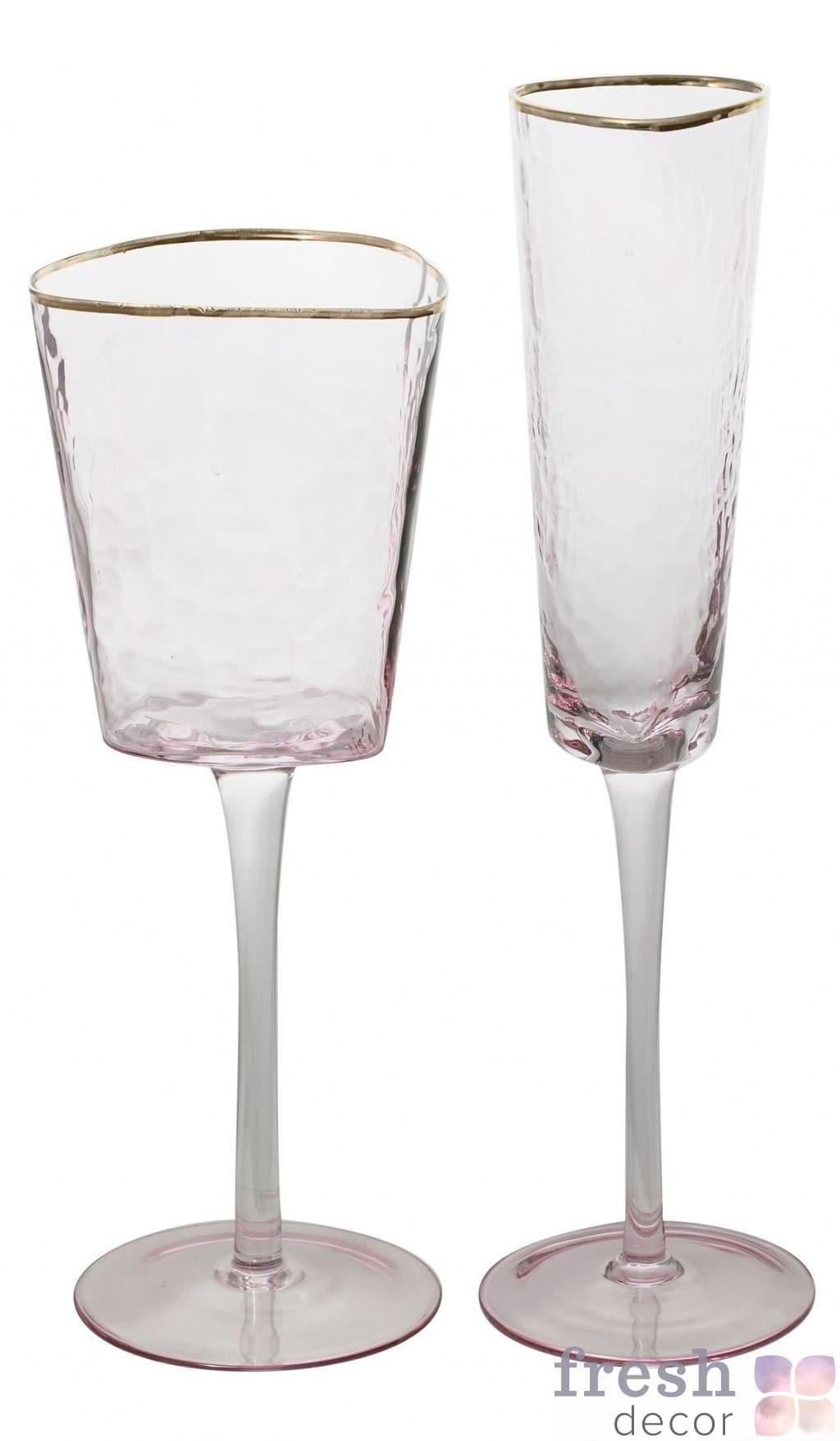 бокалы Эванс розовые с морозного стекла с золотым ободком