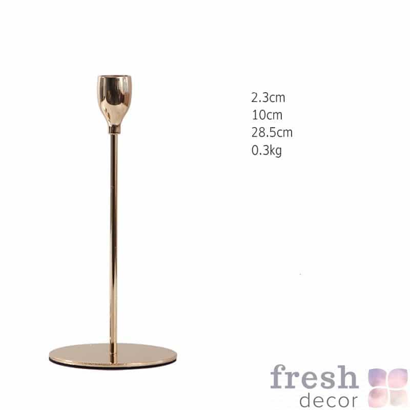 подсвечник высотой 28 см на 1 свечу из позолоченного металла