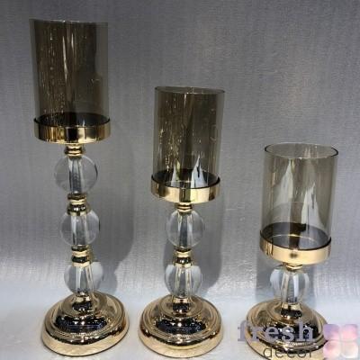 подсвечник декоративный золото стекло