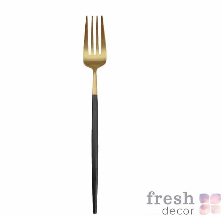 продажа вилки столовой из золота с черной ручкой