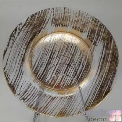прозрачная подстановочная тарелка с золотыми разводами