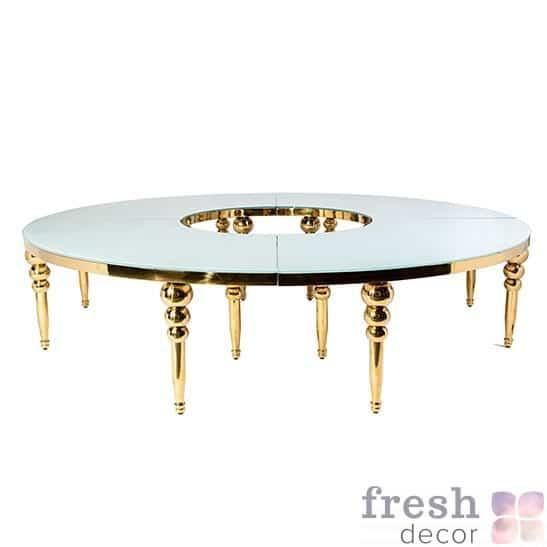 стол золотой из металла круглой формы в прокат
