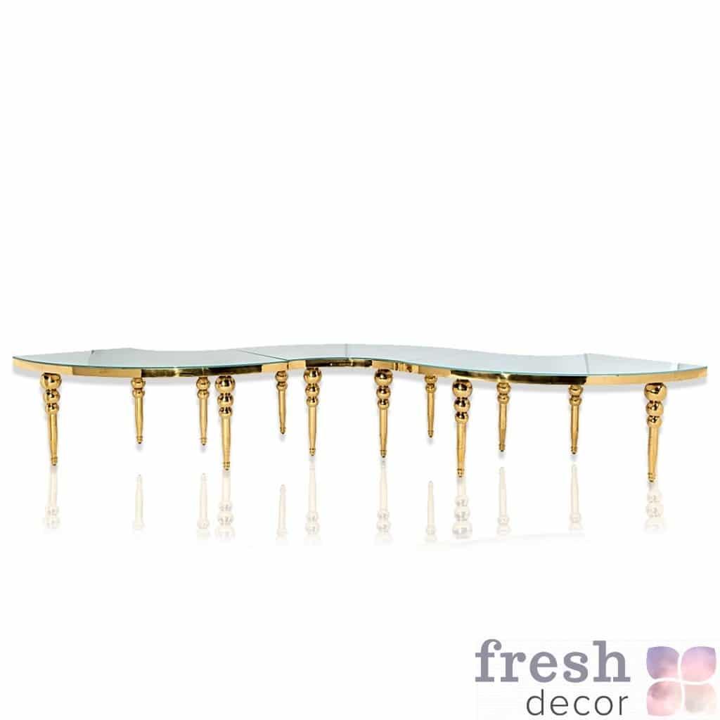 стол ранформер круглый металлический золотой