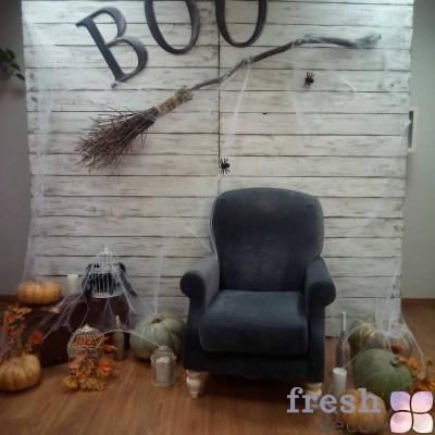 фотозона с метлой для хелоуина в аренду