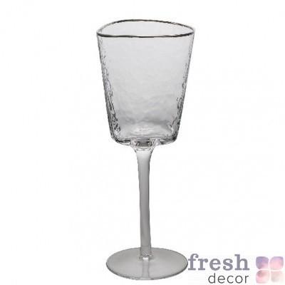 фужеры Эванс для вина прозрачные с морозного стекла с серебряным ободком