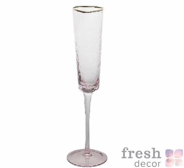 бокал фужер из розового стекла с золотым ободком