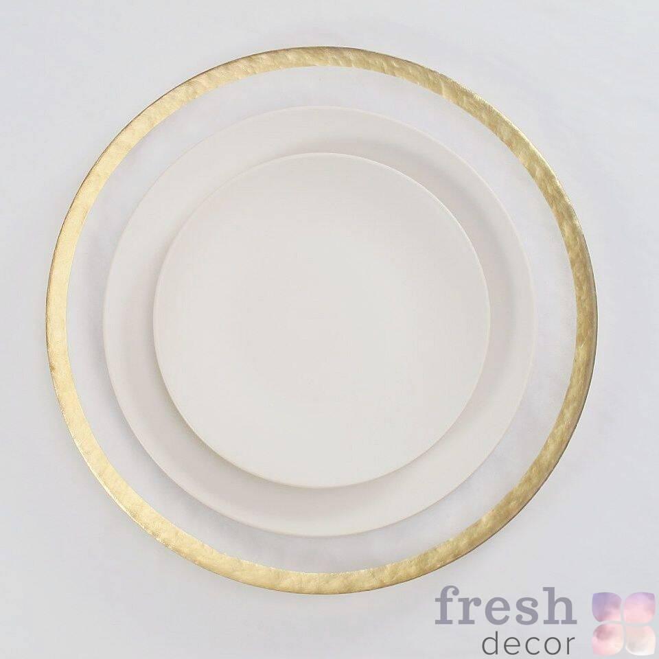 podstanovochnye tarelki s zolotym kantom po diagonali iz susalnogo zolota