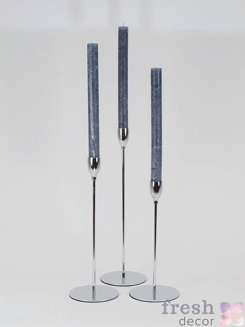 serebryanye dizajnerskie tonkie podsvechniki dyal odnoj svechi
