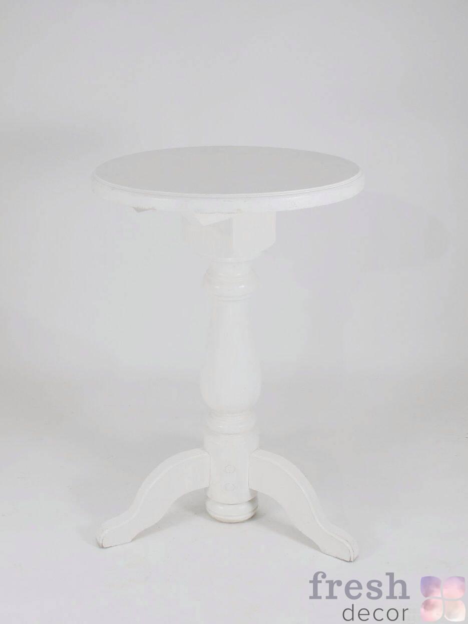stol belyj kruglyj derevyannyj vysokij