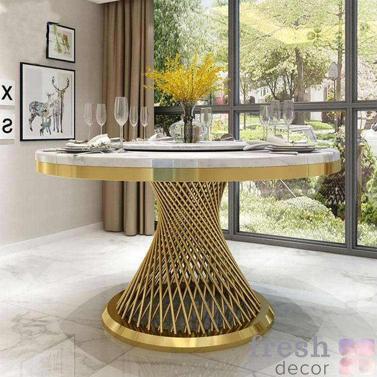 kruglyj zolotoj stol 130 sm diametra s mramornoj stoleshnicej