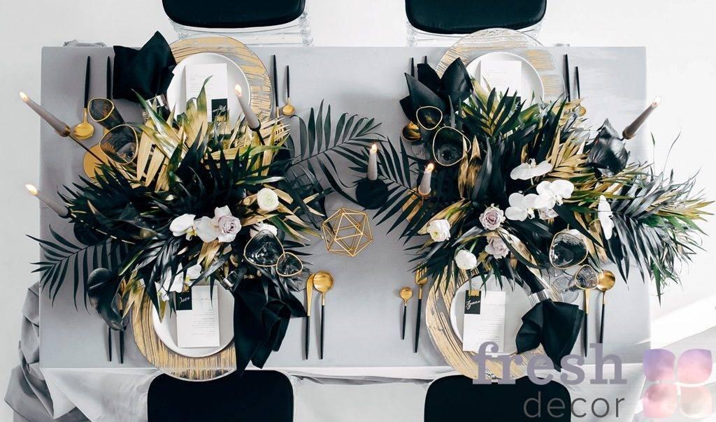 servirovka banketnogo stola na svadbu v chernom cvete