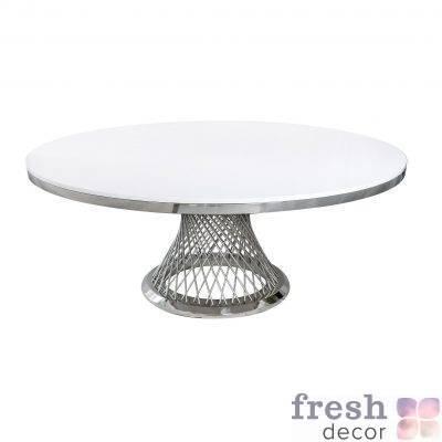 stol metallicheskij kruglyj s serebryanymi spicami i beloj stoleshnicej gerold