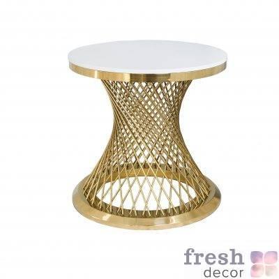 stol metallicheskij vysokij kruglyj s zolotymi spicami i beloj stoleshnicej gerold 1