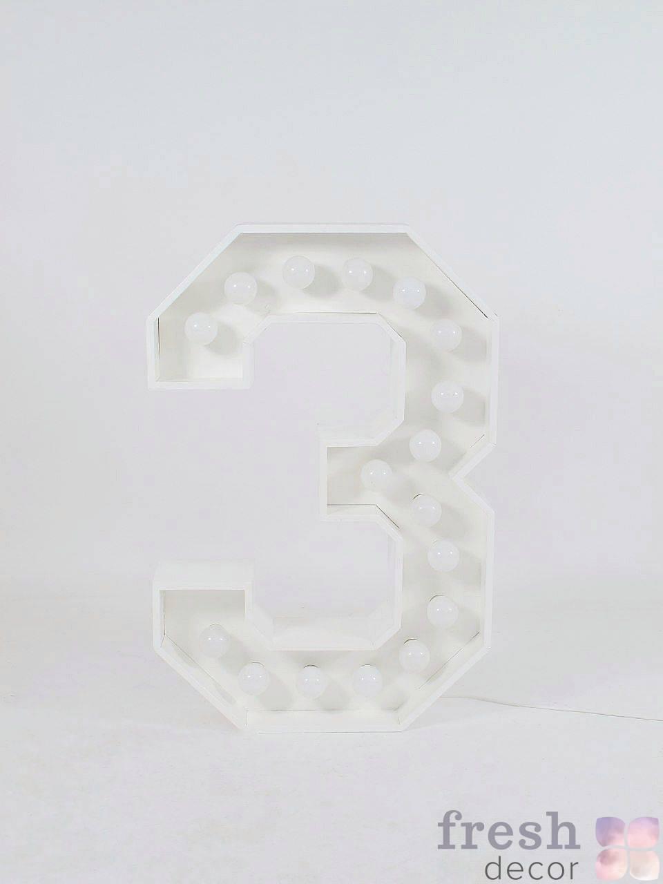 belaya cifra 3 s lampochkami v arendu