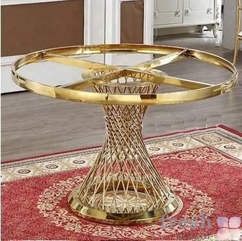 stol kruglyj iz zolotogo metalla