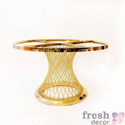 zolotoj furshetnyj stol diametrom 120 sm s beloj stoleshnicej