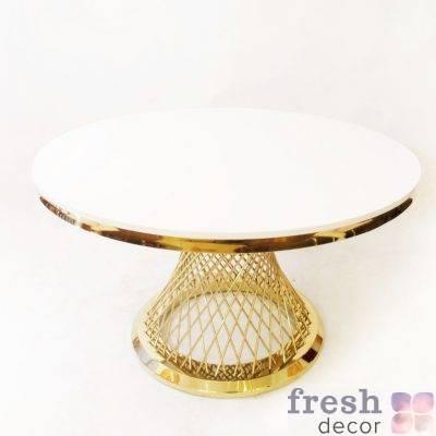 zolotoj kruglyjfurshetnyj stol diametrom 120 sm s beloj stoleshnicej