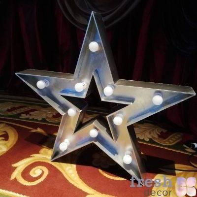zvezda serebryanaya svetyashhayasya s lampochkami