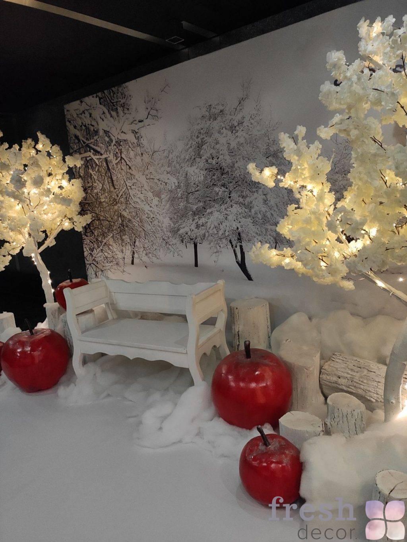 belaya zimnyaya fotozona yabloki na snegu