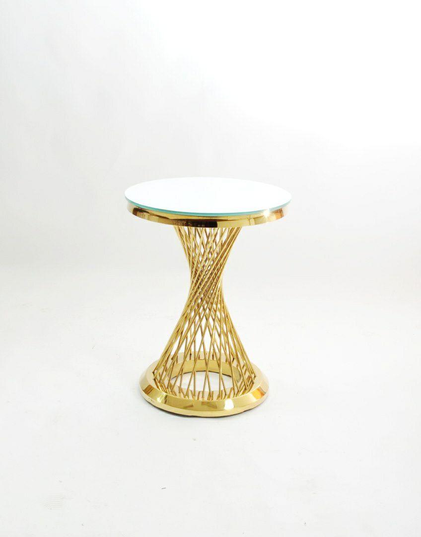 zolotoj kruglyj stol s prutikami s beloj stoleshnicej