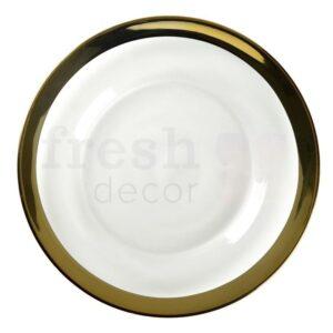 Prozrachnaja podstavnaja tarelka s shirokim zolotym kantom Gold