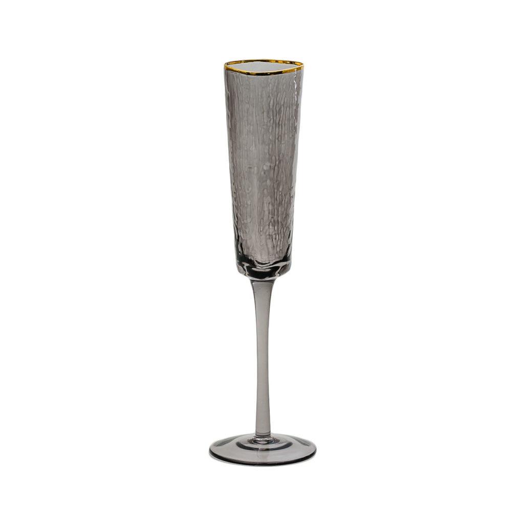 bokal dlja shampanskogo chenogo cveta s zolotym kantom