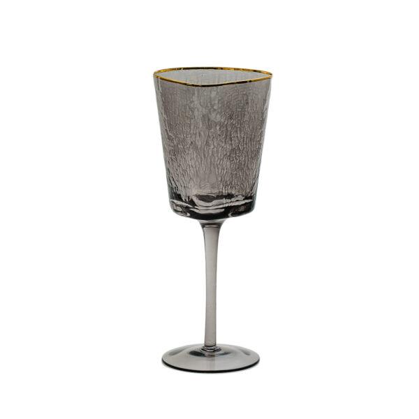 bokal dlja vina chernogo cveta s zolotym kantom