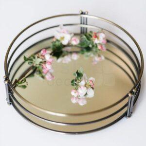 kruglij podnos dlja dekora i fruktov zolotogo cveta 3 min