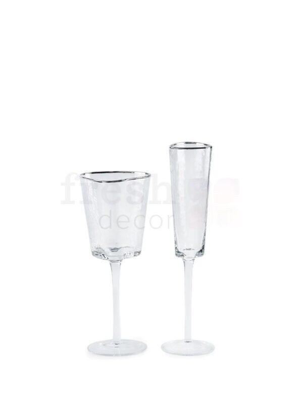 nabor bokalov dlja shampanskogo i vina Ice EVANS s serebrjanoj kaemkoj 1
