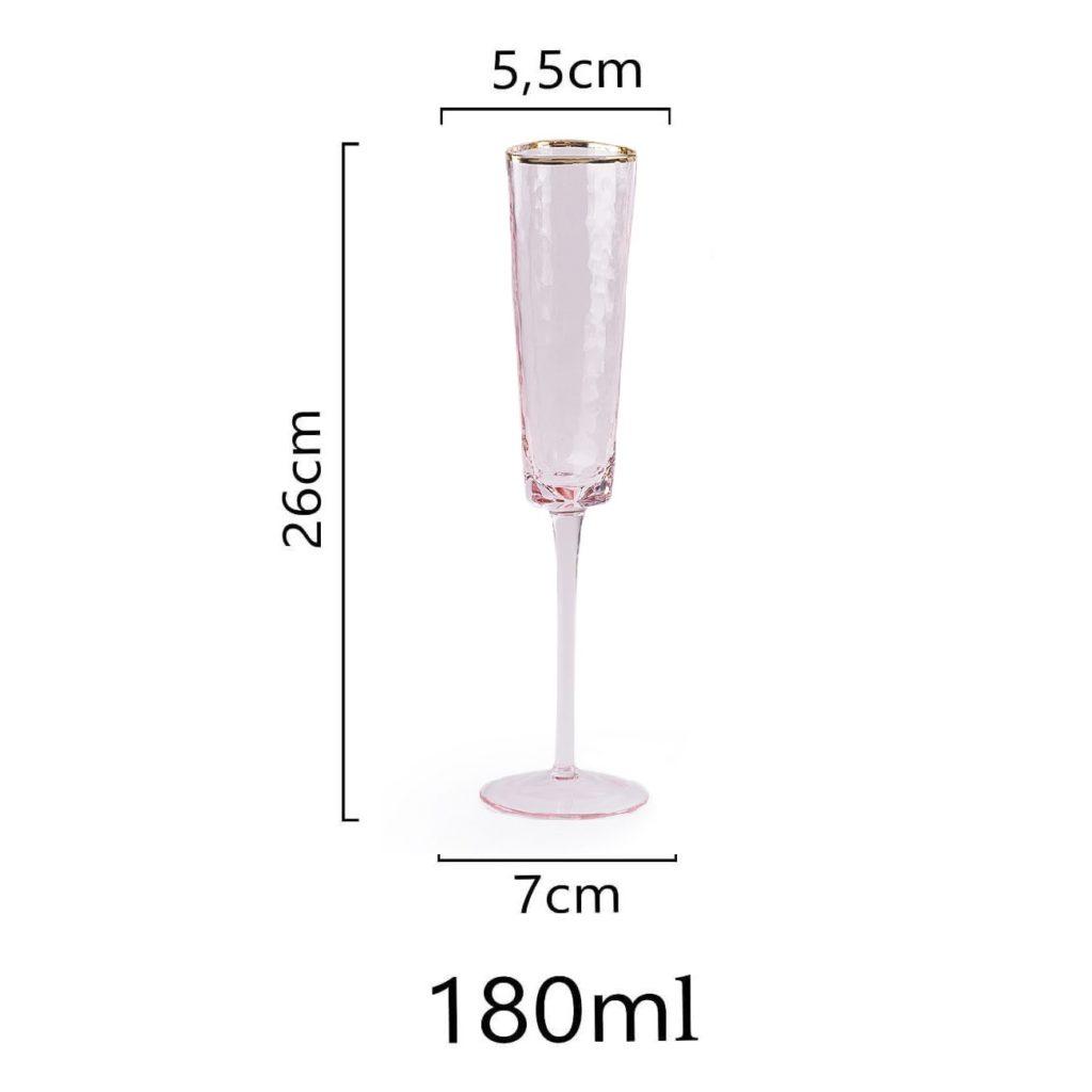 razmer rozovogo bokala dlja shampanskogo s zolotym kantom